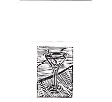 Classic Martini linocut Photographic Print