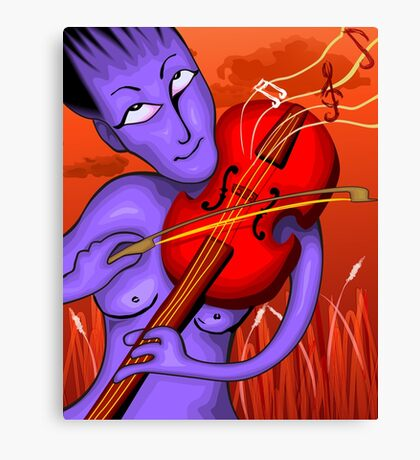 Man playing violin with love notes Canvas Print