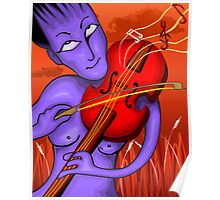 Man playing violin with love notes Poster