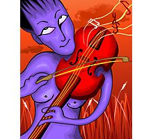 Man playing violin with love notes	 Photographic Print