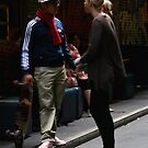 blonde chick and Mr Cool by geof