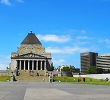 Melbourne Shrine of Remembrance Panorama by Alex  Jeffery