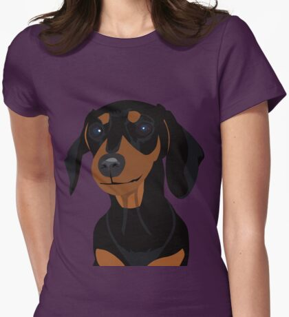 Black and Tan Dachshund Puppy - Large Print Womens Fitted T-Shirt