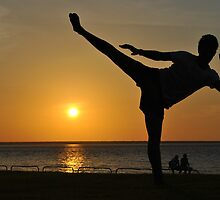 Roundhouse Kick Infront of A Sunset-Darwin by Alex  Jeffery