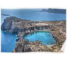 St Paul's Bay, Lindos Poster