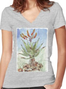Aloe (A. marlothii) Women's Fitted V-Neck T-Shirt