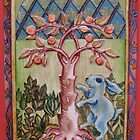 Blue Rabbit & Orange Tree by MegJay