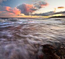 Charmouth beach at sunset by Shaun Whiteman