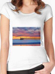 Bacara (Haskell's ) Beach and pier, Santa Barbara Women's Fitted Scoop T-Shirt