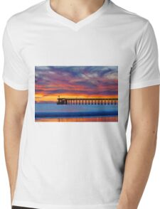 Bacara (Haskell's ) Beach and pier, Santa Barbara Mens V-Neck T-Shirt