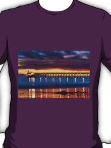 Venoco Ellwood Pier,  Bacara (haskell's) beach Goleta  at sunset T-Shirt