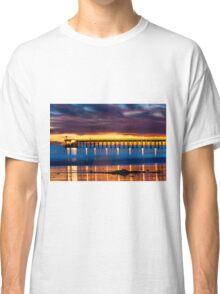 Venoco Ellwood Pier,  Bacara (haskell's) beach Goleta  at sunset Classic T-Shirt