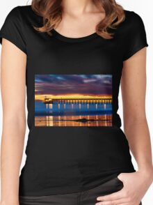 Venoco Ellwood Pier,  Bacara (haskell's) beach Goleta  at sunset Women's Fitted Scoop T-Shirt