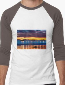 Venoco Ellwood Pier,  Bacara (haskell's) beach Goleta  at sunset Men's Baseball ¾ T-Shirt