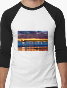 Venoco Ellwood Pier,  Bacara (haskell's) beach Goleta  at sunset Men's Baseball ¾ T-Shirt