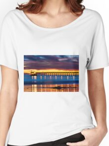 Venoco Ellwood Pier,  Bacara (haskell's) beach Goleta  at sunset Women's Relaxed Fit T-Shirt