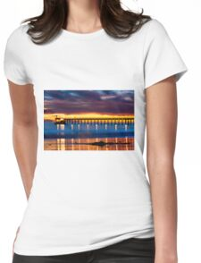 Venoco Ellwood Pier,  Bacara (haskell's) beach Goleta  at sunset Womens Fitted T-Shirt
