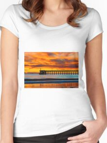 Venoco Ellwood Pier, in Bacara beach CA during sunset Women's Fitted Scoop T-Shirt