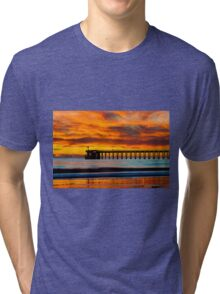 Venoco Ellwood Pier, in Bacara beach CA during sunset Tri-blend T-Shirt