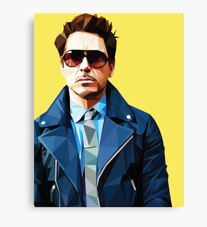 Robert Downey Jr - Low Poly Vector Canvas Print