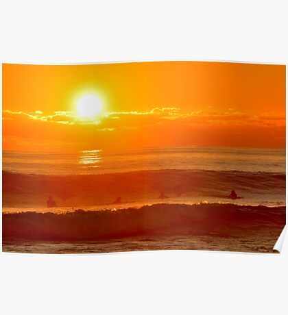 Surfer Sunset Poster