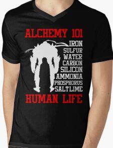 Full Metal Alchemist Brotherhood FMA Alchemy 101 Edward Elric Anime Cosplay T Shirt Mens V-Neck T-Shirt