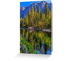 Reflections on the Merced river, Yosemite National Park Greeting Card