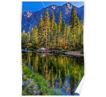 Reflections on the Merced river, Yosemite National Park Poster