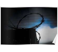 Barbed Wire On A Cold Blue Morning Poster