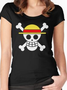 One Piece Monkey D. Luffy Mugiwara Strawhats Pirates Anime Cosplay T Shirt Women's Fitted Scoop T-Shirt