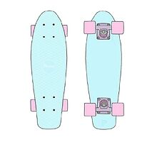 pastel pink and blue penny board by haventhadenough