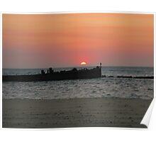 Sunset over Tanga wrecks - Moreton Island Poster