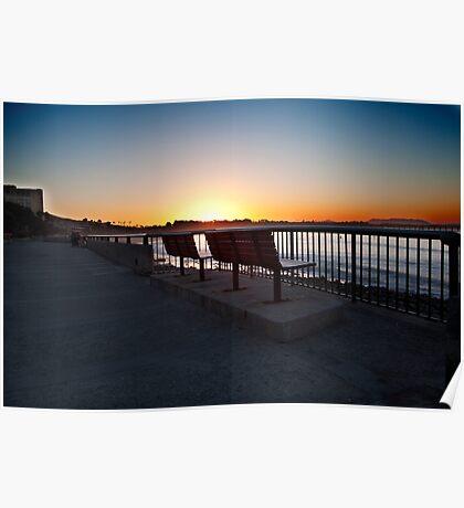 Ventura Beach boardwalk, morning Poster