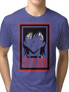 Code Geass Lelouch Obey Anime Cosplay T Shirt Tri-blend T-Shirt
