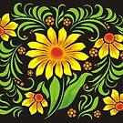 Flowers drawn in Ukrainian style by Anastasiia Kucherenko
