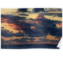 Storm Clouds building up at sunset. Poster