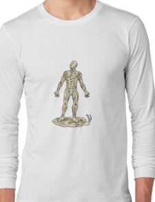 Human Muscle Anatomy Etching Long Sleeve T-Shirt