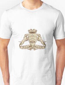 Pitbull Dog Coat of Arms Etching T-Shirt