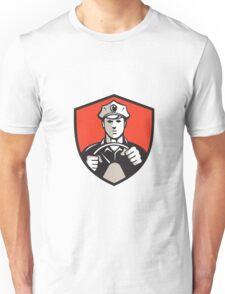 Vintage Driver Steering Wheel Crest Retro Unisex T-Shirt