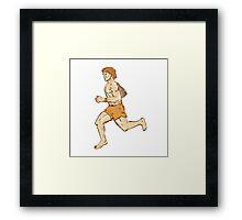 Barefoot Runner Running Side Etching Framed Print