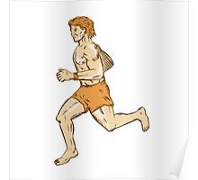 Barefoot Runner Running Side Etching Poster