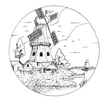 Windmill Drawing Photographic Print