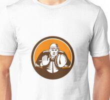 Baseball Catcher Gloves Circle Woodcut Unisex T-Shirt