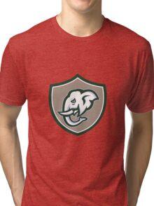 Elephant Head Tusk Side Shield Retro Tri-blend T-Shirt