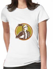 Gardener Landscaper Grub Hoe Woodcut Womens Fitted T-Shirt