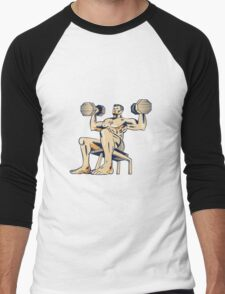 High Intensity Interval Training Dumbbell Etching Men's Baseball ¾ T-Shirt