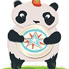 Panda playing Ultimate Frisbee by Anoesj