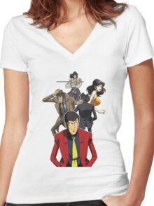 lupin the 3rd third fujiko jigen goemon inspector zenigata anime manga shirt Women's Fitted V-Neck T-Shirt