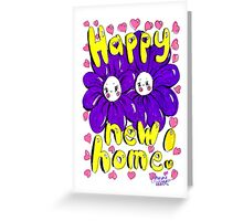 Happy New Home! - Purple Cute Smiley Flowers Greeting Card