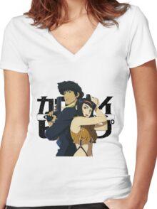 cowboy bebop spike spiegel faye edward jet anime manga shirt Women's Fitted V-Neck T-Shirt